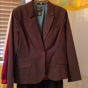 Women's 14 Brown & teal pinstripe blazer